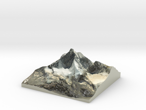 "Matterhorn / Monte Cervino Map: 9"" (22.8 cm) in Glossy Full Color Sandstone"