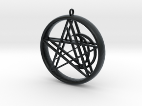 1.5in Pentacle Floating Moon n Star Pendant in Black Hi-Def Acrylate