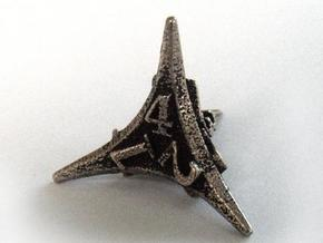 Caltrop Die4 in Polished Bronzed Silver Steel
