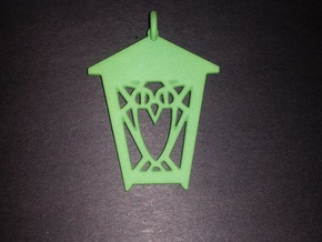 Owl Lantern Ornament in Green Processed Versatile Plastic