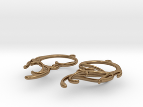 Melting Curl Earrings in Natural Brass