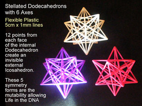 Stellated Dodecahedron with axes - 50mm in Purple Processed Versatile Plastic