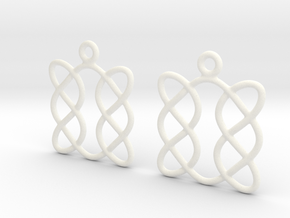 Celtic Weave Earrings - WE005 in White Processed Versatile Plastic