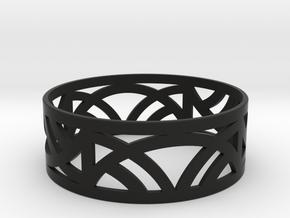 Art Deco Bangle Bracelet  in Black Natural Versatile Plastic: Large