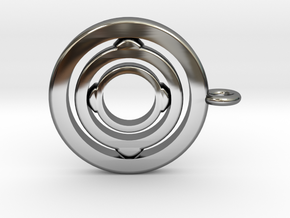 Rotating pendant orbit  in Fine Detail Polished Silver