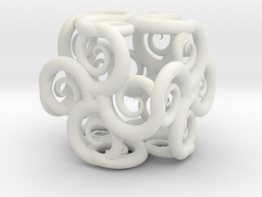 Spiral Fractal Cube in White Strong & Flexible