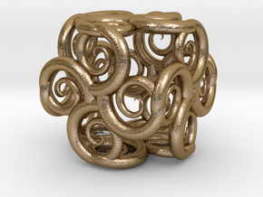 Spiral Fractal Cube in Polished Gold Steel