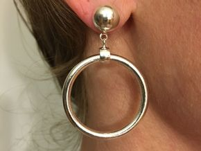 Iconic Marilyn Monroe Replica Earring in Polished Silver (Interlocking Parts)