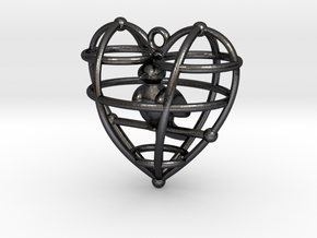 HeartSimpBirdFinal in Polished and Bronzed Black Steel