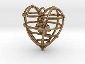 HeartSimpBirdFinal in Natural Brass