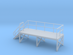 HO Train Crew Platform Stairs Left in Smooth Fine Detail Plastic