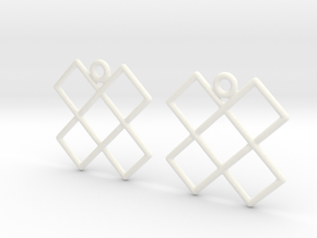 Celtic Weave Earrings - WE014 in White Processed Versatile Plastic