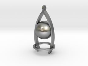 Melancholy ball earing in Natural Silver