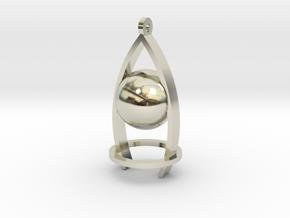 Melancholy ball earing in 14k White Gold