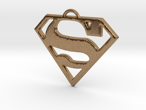 Superman Pendant Medium in Natural Brass