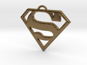 Superman Pendant Medium in Natural Bronze