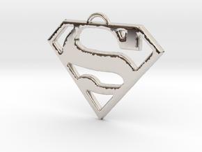 Superman Pendant Medium in Rhodium Plated Brass