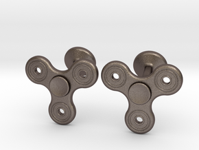 Fidget Spinner Cufflinks - LARGE in Polished Bronzed Silver Steel