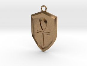 Order Shield Pendant in Natural Brass