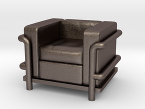 Le Corbusier chair in Polished Bronzed Silver Steel