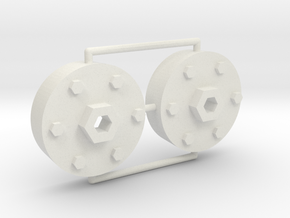 1/16 M26 Pershing Drive Sprocket Hubs in White Natural Versatile Plastic