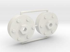 1/16 M26 Pershing Drive Sprocket Hubs in White Natural Versatile Plastic