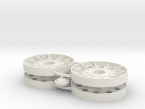 Two 1/16 Early T34 Steel Wheels in White Natural Versatile Plastic