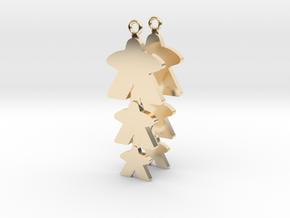 """Meeple Earrings """"threeple"""" in 14K Yellow Gold"""