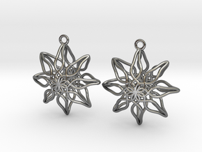 Change Flower Earrings in Polished Silver