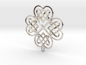 Clover Pendant in Rhodium Plated Brass