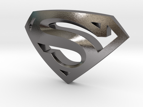 SUPERMAN LOGO  in Polished Nickel Steel: Small