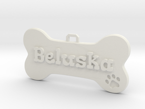 Dog Tag (customizable) in White Natural Versatile Plastic