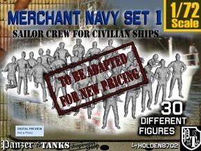1/72 Merchant Navy Crew Set 1 in Transparent Acrylic