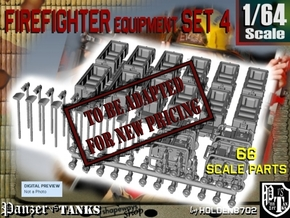 1-64 Firefighter Equipment Set 4 in Transparent Acrylic