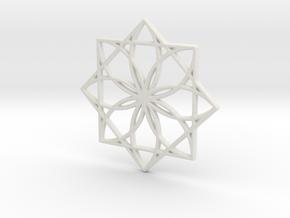 Modern Geometric Floral Pendant Charm in White Natural Versatile Plastic