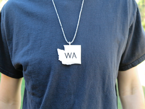 Washington State Pendant in White Natural Versatile Plastic