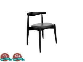 Miniature CH20  Elbow Chair - Hans J. Wegner in Smooth Fine Detail Plastic: 1:24