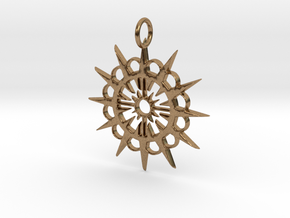 Abstract Patterned Circle Stylized Sun Pendant in Natural Brass
