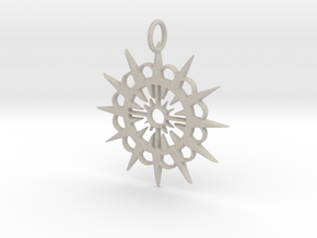 Abstract Patterned Circle Stylized Sun Pendant in Natural Sandstone