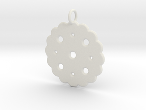 Cute Cookie Pendant Charm in White Natural Versatile Plastic