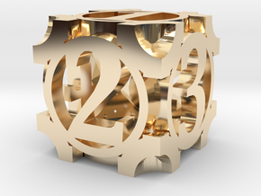 Daedal D6 - 16mm die in 14K Yellow Gold
