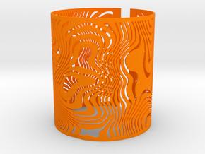 Wide Wavy Openwork Bracelet in Orange Strong & Flexible Polished