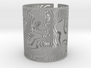 Wide Wavy Openwork Bracelet in Aluminum