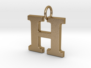 H Pendant in Polished Gold Steel