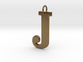 J Pendant in Natural Bronze