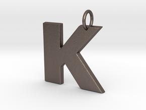 K Pendant in Polished Bronzed Silver Steel