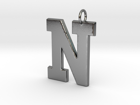N Pendant in Polished Silver