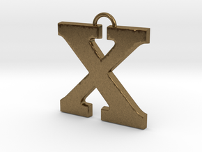 X Pendant in Natural Bronze