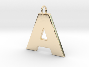 A2 Pendant in 14k Gold Plated Brass