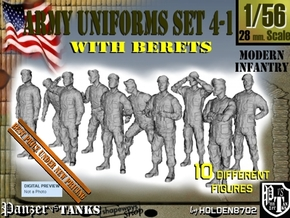 1-56 Army Modern Uniforms BERETS Set 4-1 in Smooth Fine Detail Plastic
